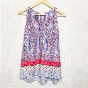 • Saint Tropez pink & blue pattern sleeveless top